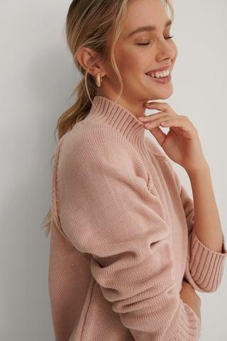Dusty Pink Pull Tricoté Fendu Sur Le Côté