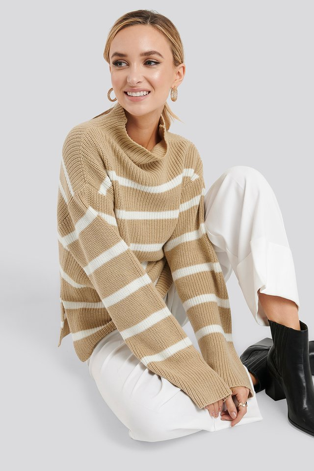 High Neck Striped Knitted Sweater Beige/White Stripe