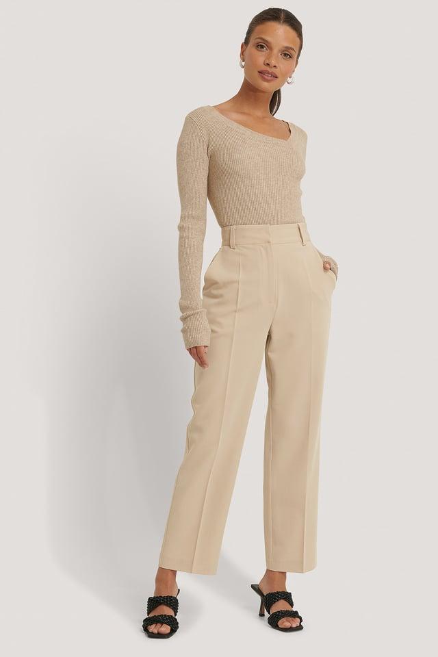 Recyclé Pantalon De Costume Court Taille Haute Beige