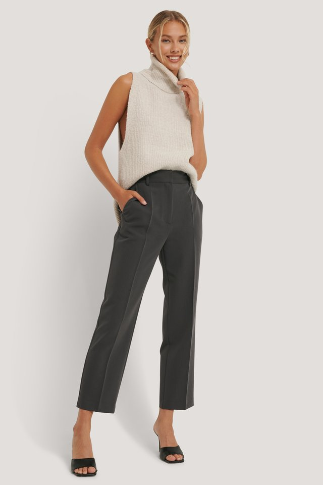Dark Grey Pantalon De Costume Court Taille Haute