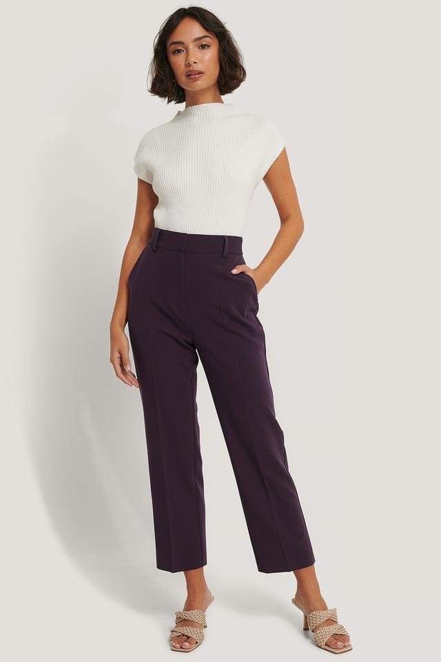 Pantalon De Costume Court Taille Haute Dark Plum