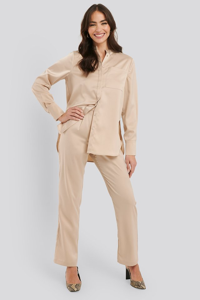 Sand High Rise Satin Pants