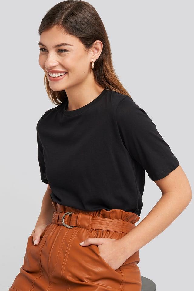 Black Tee-Shirt À Col Rond Haut