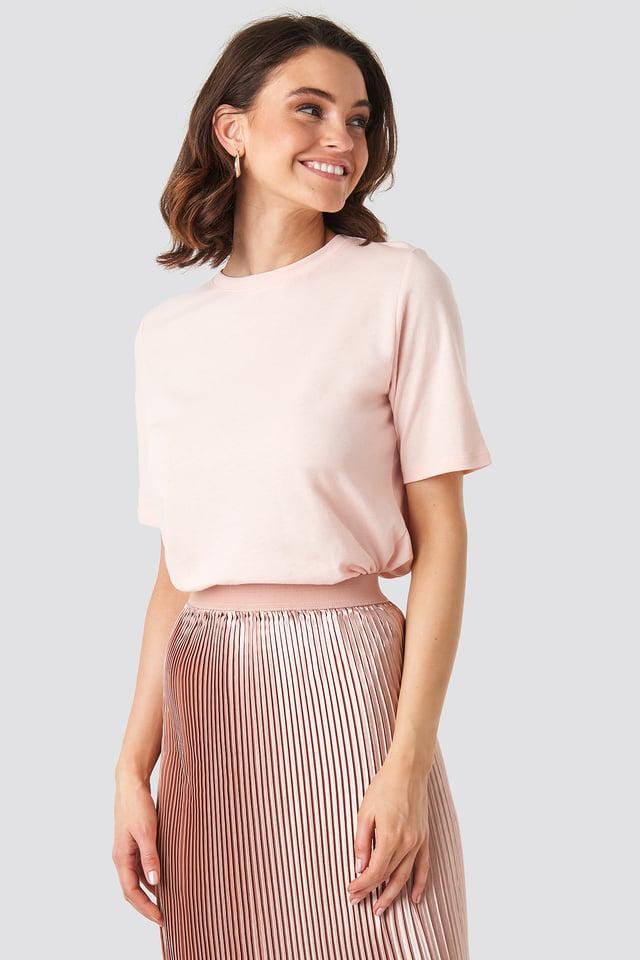Pink Tee-Shirt À Col Rond Haut