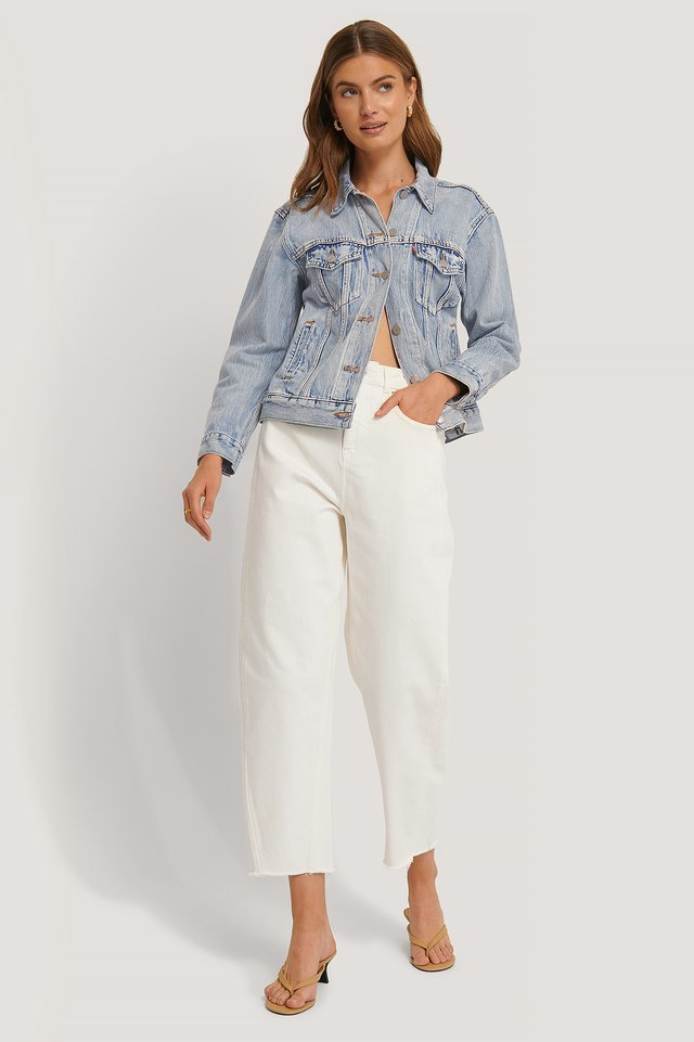High Waist Barrel Leg Jeans Off White