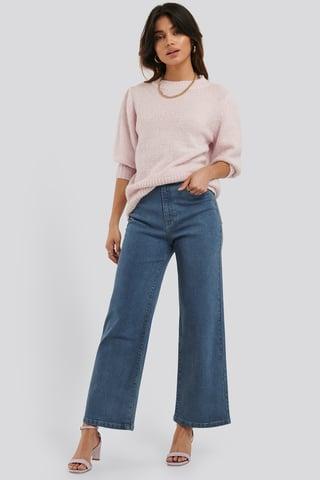 Mid Blue Jupe Culotte En Jean