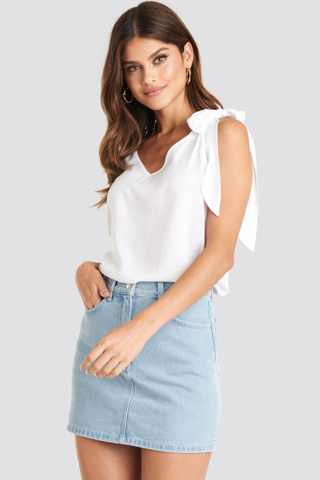 Light Blue Wash High Waist Denim Mini Skirt
