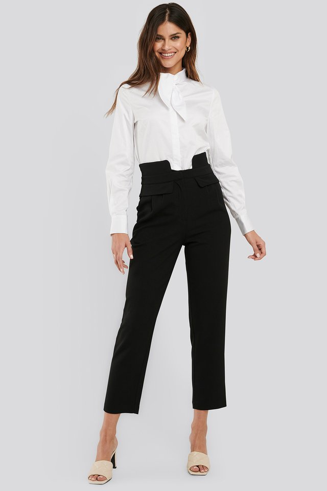 Black High Waist Detailed Pants