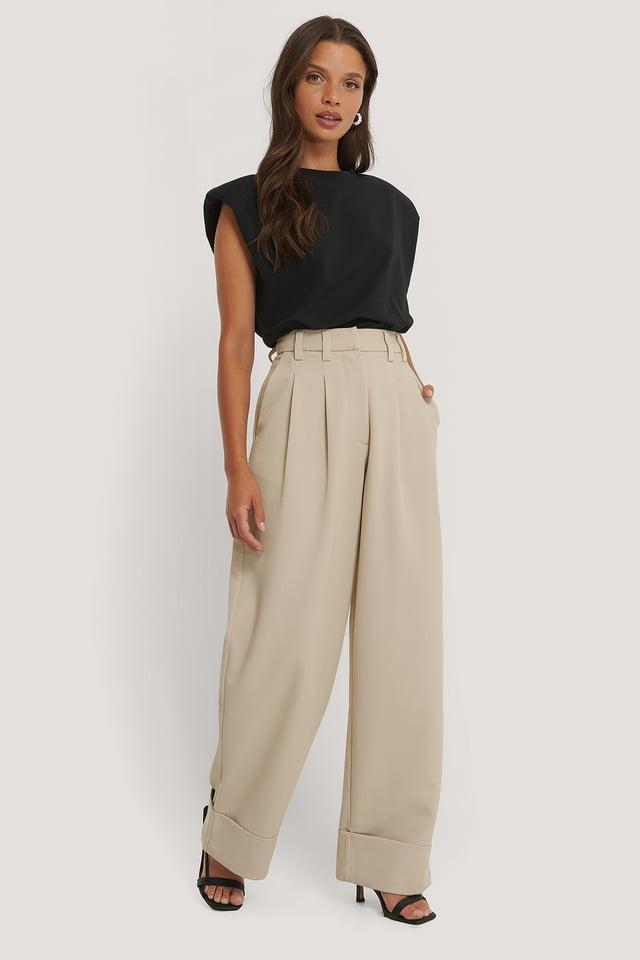 Pantalon Jambe Large Et Taille Haute Sand
