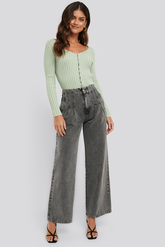 High Waist Loose Fit Jeans Washed Grey