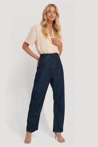 Dark Blue High Waist Oversized Jeans