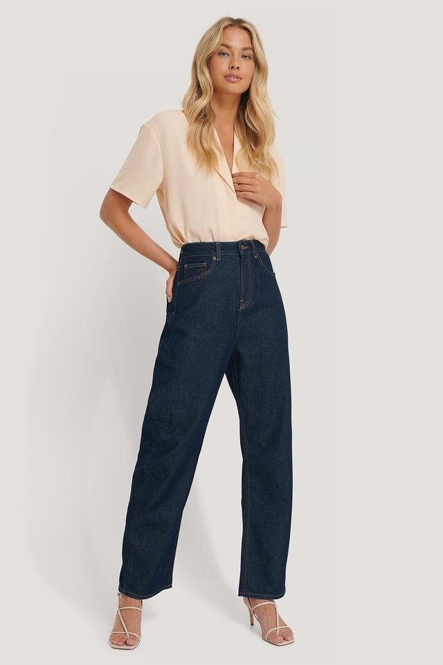 High Waist Oversized Jeans Dark Blue