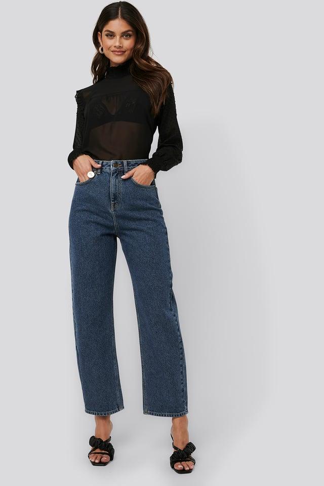 High Waist Oversized Jeans Mid Blue