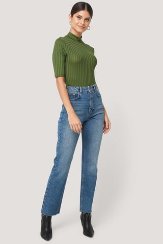 Mid Blue High Waist Raw Hem Straight Jeans