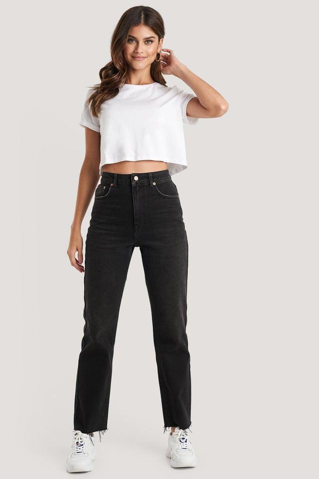 High Waist Raw Hem Straight Jeans Washed Black