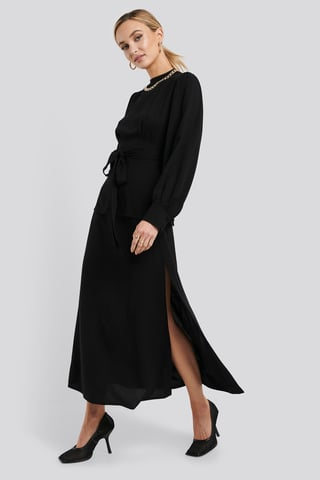 Black High Waist Side Split Midi Skirt