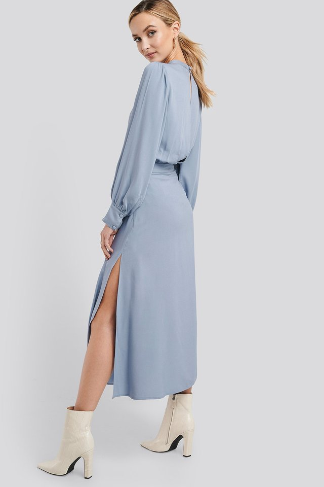 High Waist Side Split Midi Skirt Blue