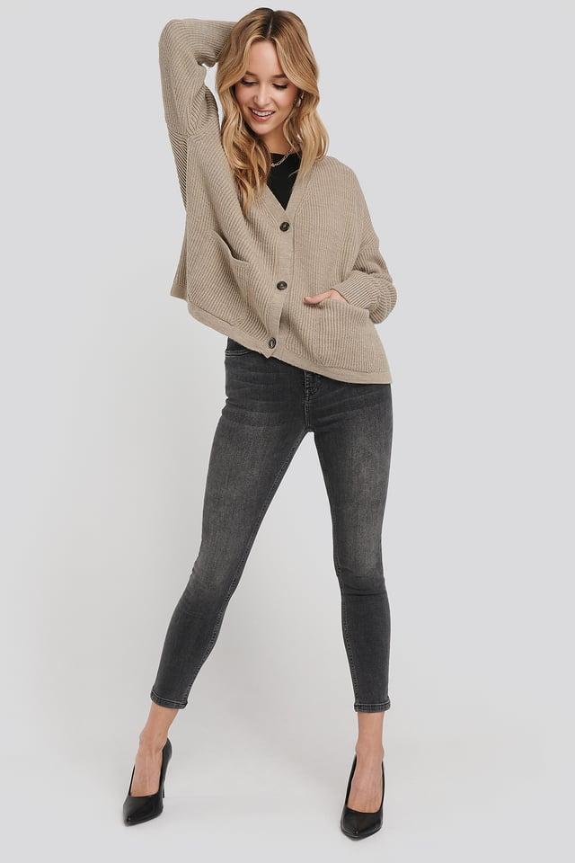 High Waist Skinny Cropped Jeans Grey Wash