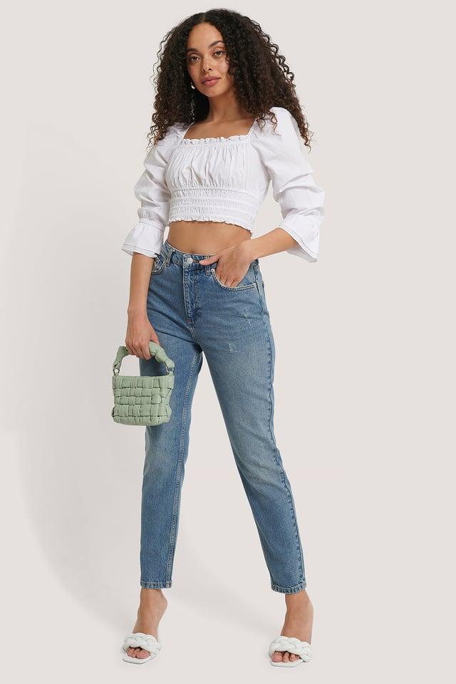 Jean Slim Taille Haute Mid Blue