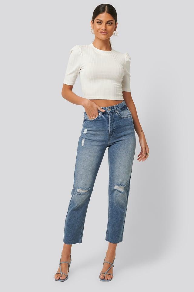 Mid Blue Jean Déchiré Taille Haute