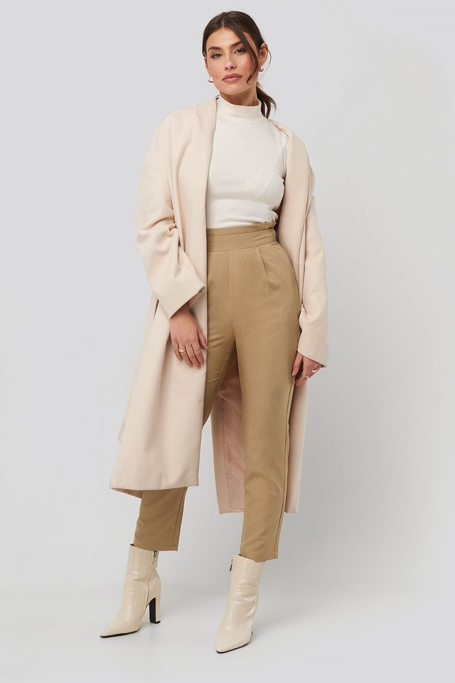 Beige High Waist Straight Pants