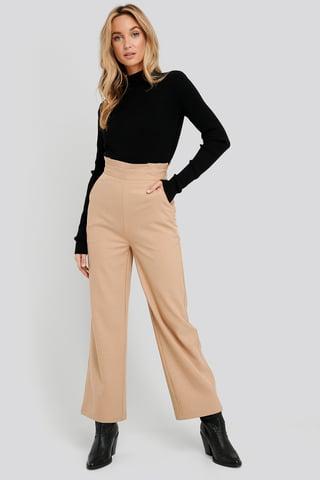 Beige High Waist Wide Trousers