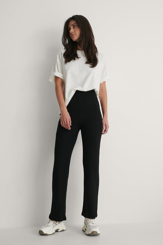 Black Pantalon En Maille Côtelée Taille Haute