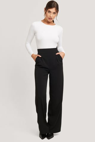 Black High Waisted Wide Leg Suit Pants
