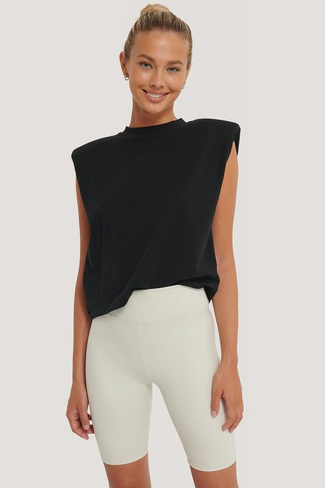 Beige Pantalon Motard Taille Haute