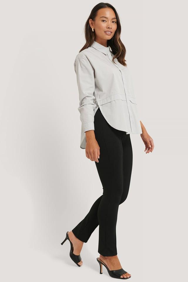 Pantalon Taille Haute Et Couture À L'Avant Black
