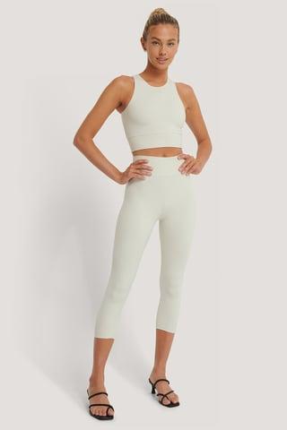Beige Legging Mi-Haut Taille Haute