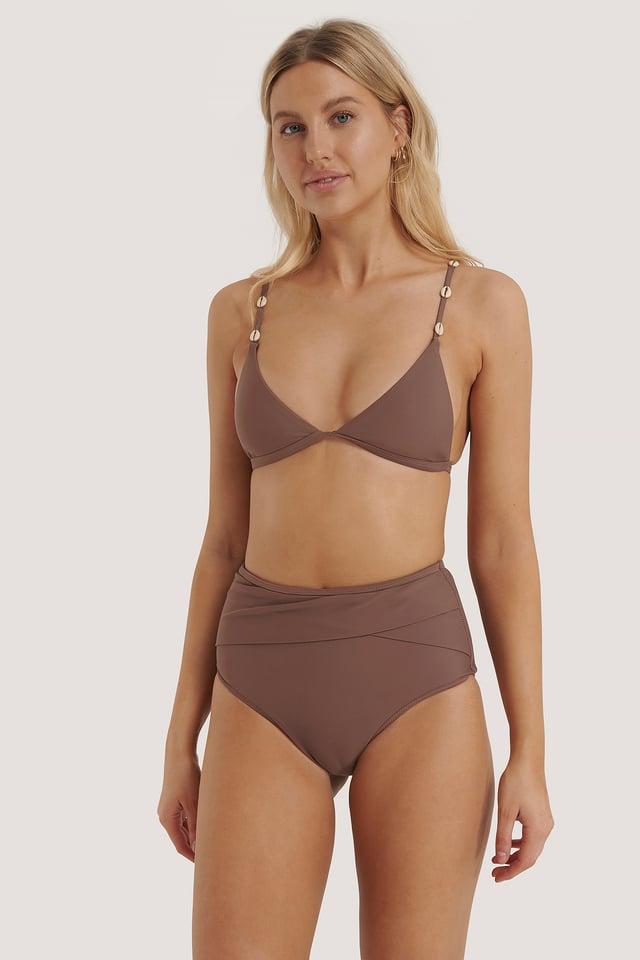 Rose Taupe Culotte De Bikini Taille Haute