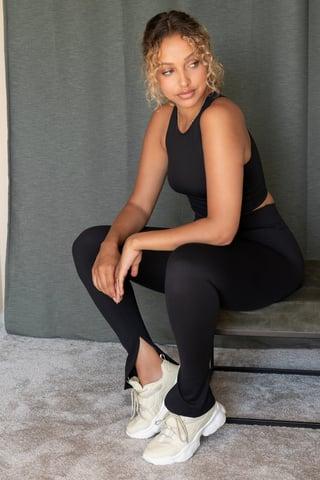 Black Legging Fendu Taille Haute