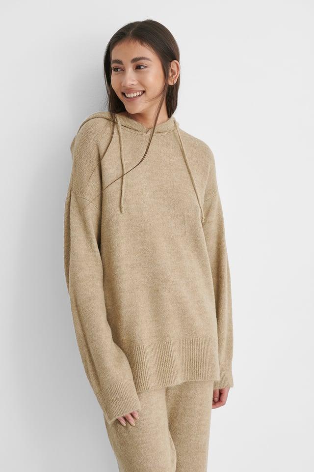 Hood Knitted Sweater Beige