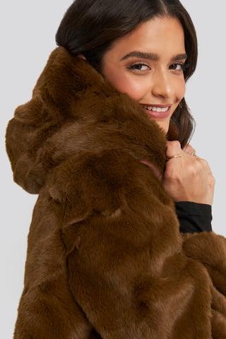 Brown Hooded Faux Fur Jacket