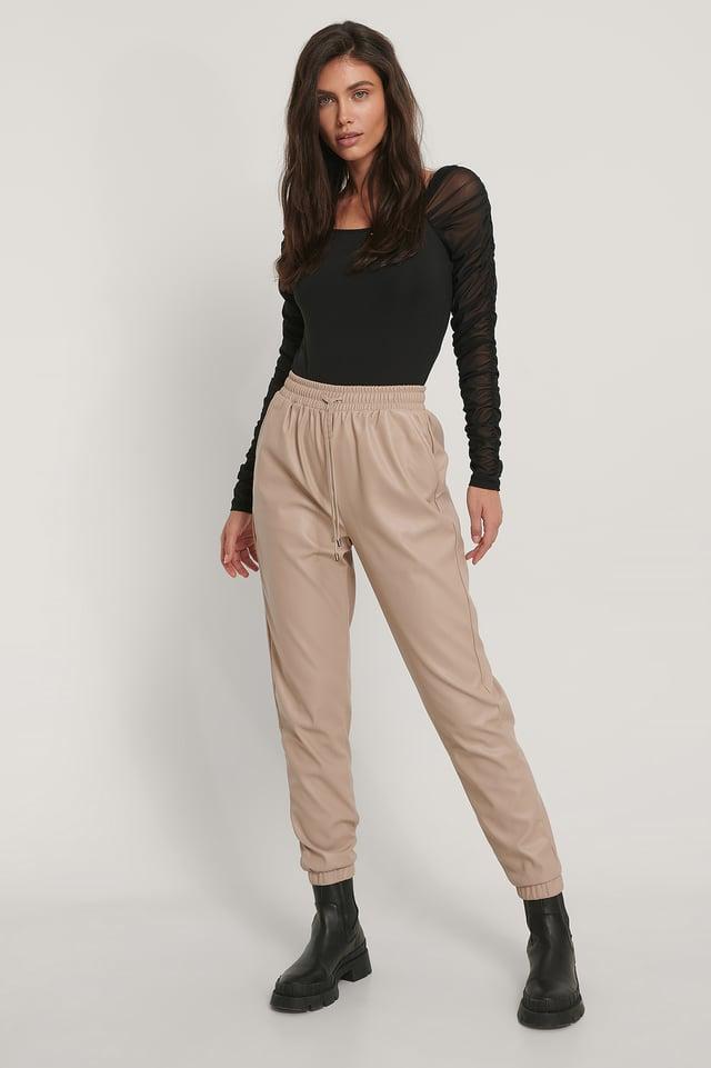 Pantalon Faux Cuir Beige