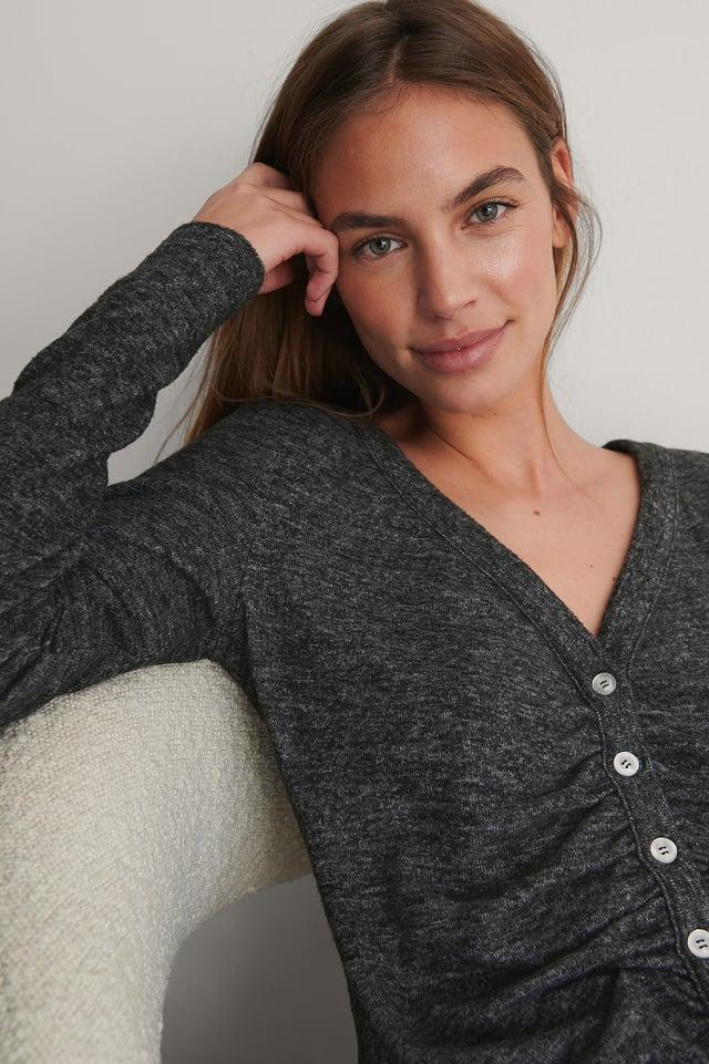 Grey Melange Cardigan