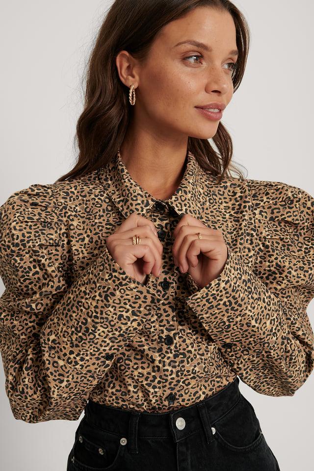 Biologique Chemise À Épaules Plissées Leopard