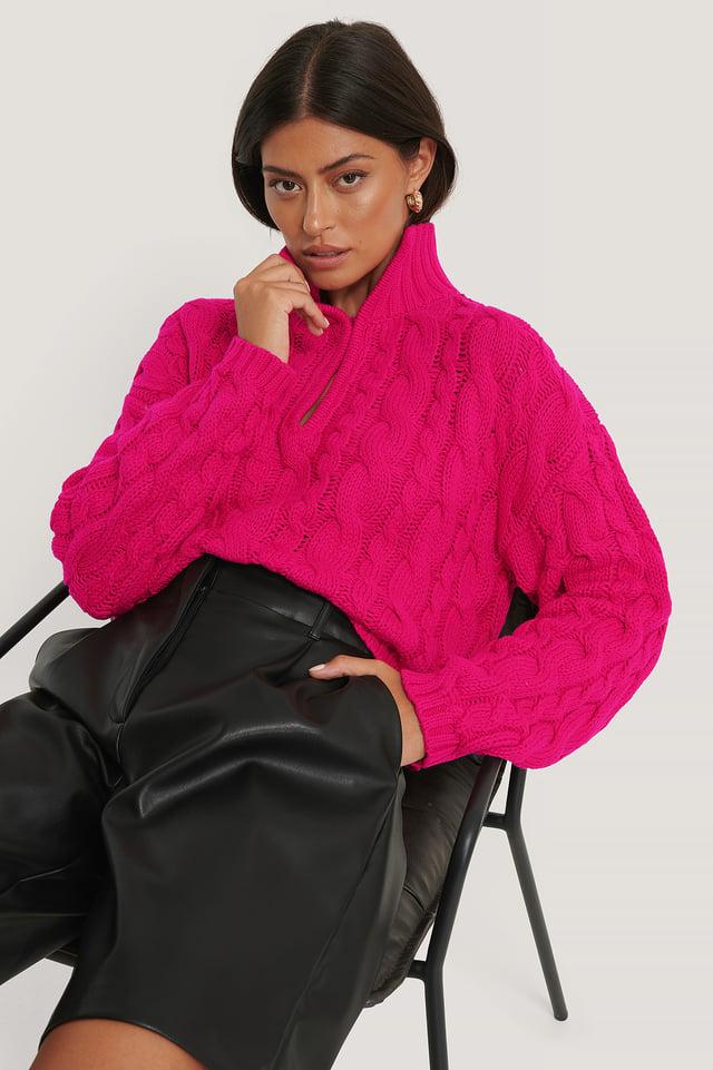 Pull Court En Maille Torsadée Pink