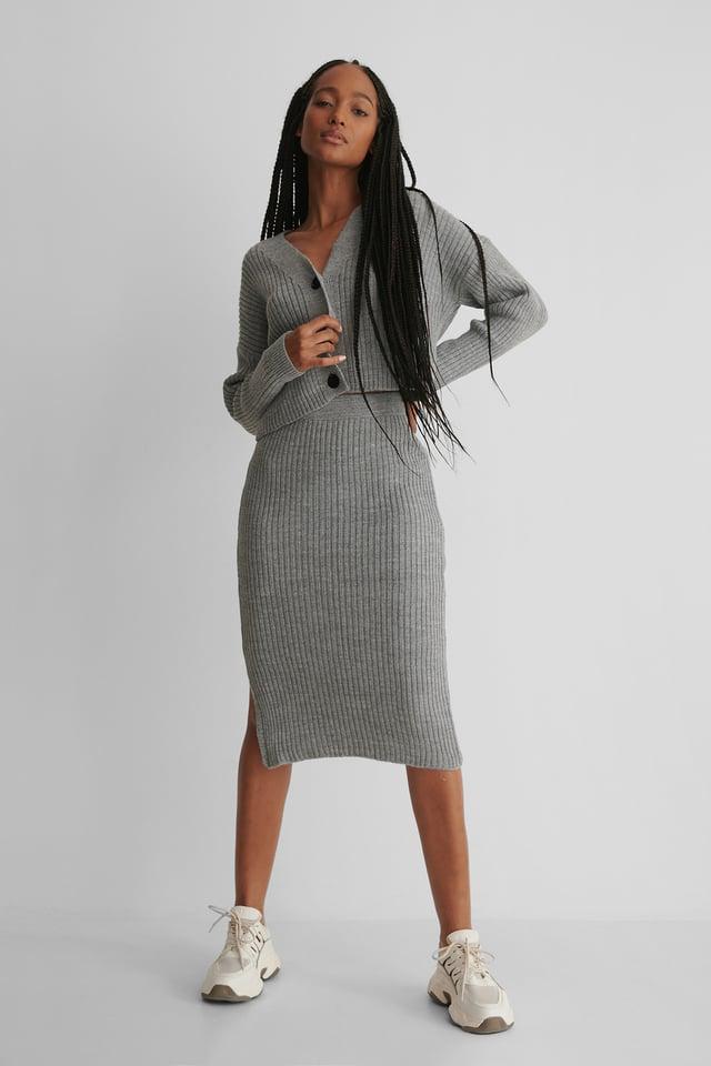 Knit Set Cardigan Skirt Gray