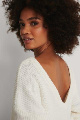 White Knitted Deep V-neck Sweater