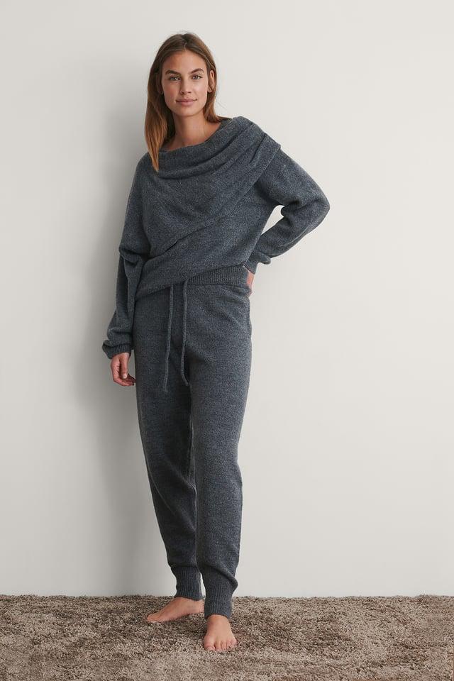 Grey Pantalon De Survêtement Taille Haute En Maille