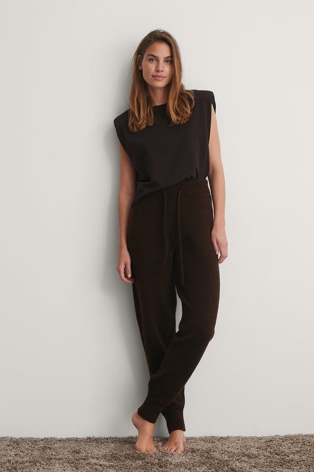 Brown Pantalon De Survêtement Taille Haute En Maille