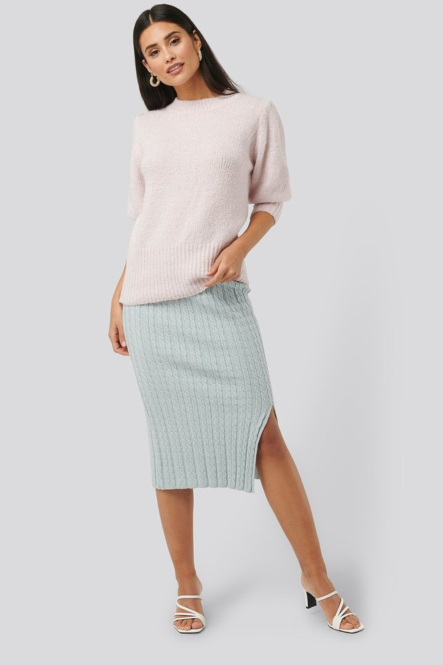 Knitted Pencil Skirt Light Blue