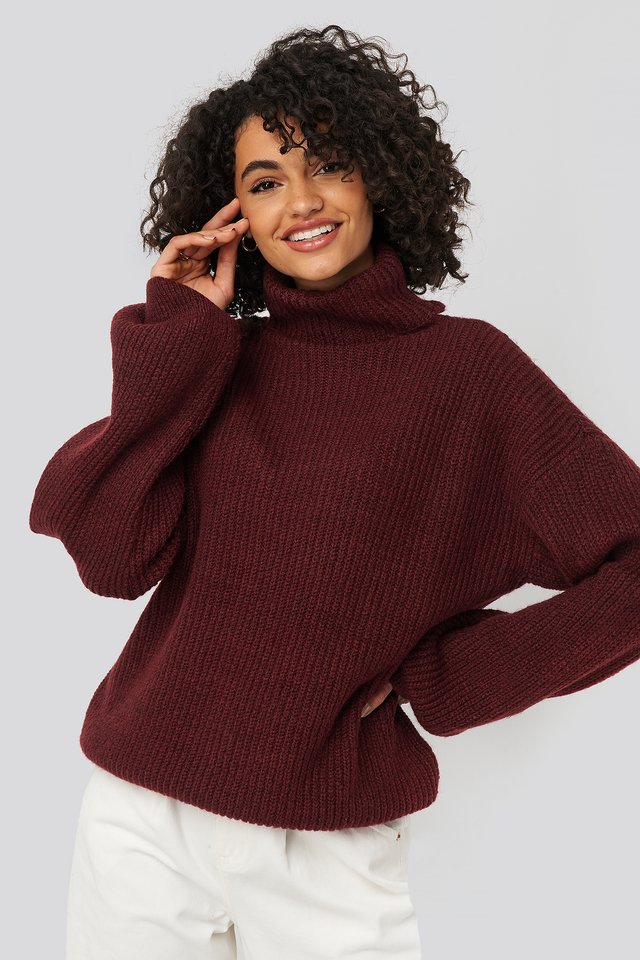 Burgundy Knitted Turtle Neck Sweater