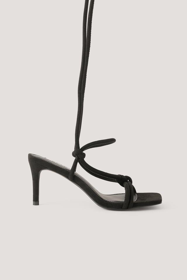 Sandales À Talons Et Brides Nouées Black