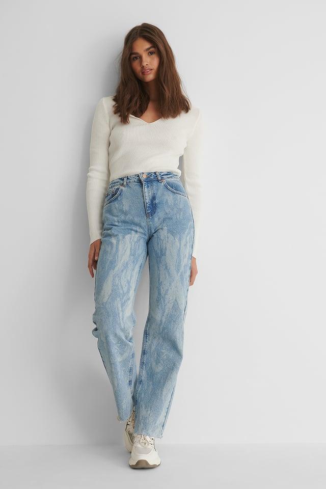 Light Blue Laser Tie Dye Straight Jeans
