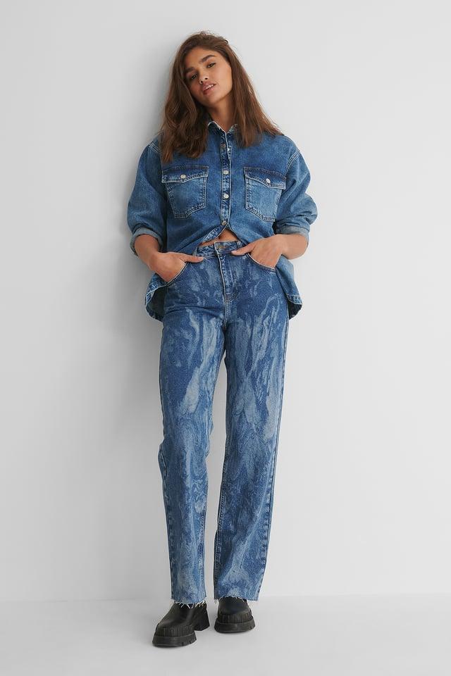 Mid Blue Laser Tie Dye Straight Jeans