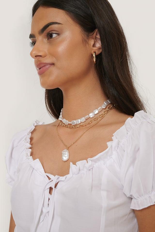 Gold/White Colliers De Perles Plates En Couches