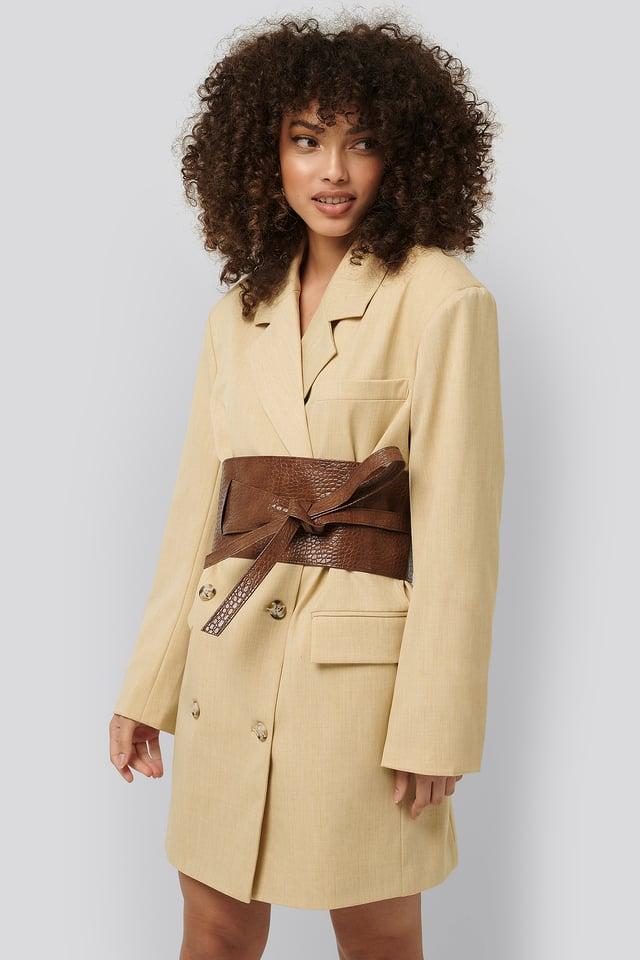 Brown Croco Layered Oversize Waist Belt